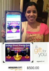 UnIRelo Diwali Dhamaka Quiz Winner